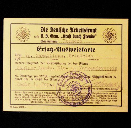 """Ersatz-Ausweiskarte Die Deutsche Arbeitsfront und N.S. gemeinde """"Kraft durch Freude"""""""