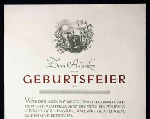 NSDAP citation/urkunde: Zum andenken an die Geburtsfeier