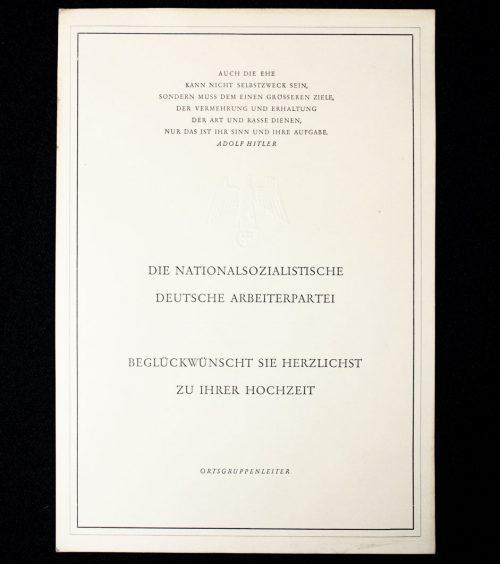 NSDAP congratulation citation for a Marriage