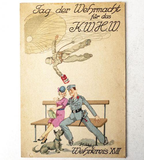 """Postcard """"Fallschirmjäger"""" Tag der Wehrmacht für das Kriegswinterhilfswerk (WHW)"""