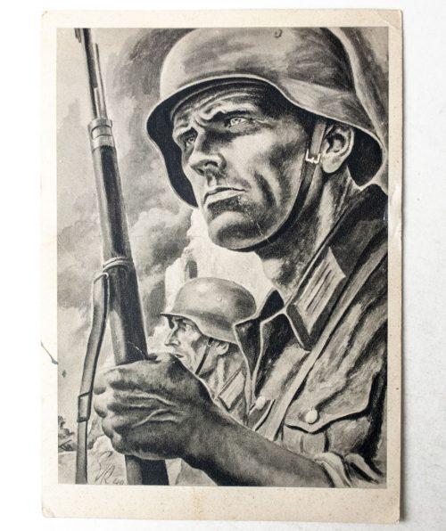 Postcard German soldier with helmet (1943?)