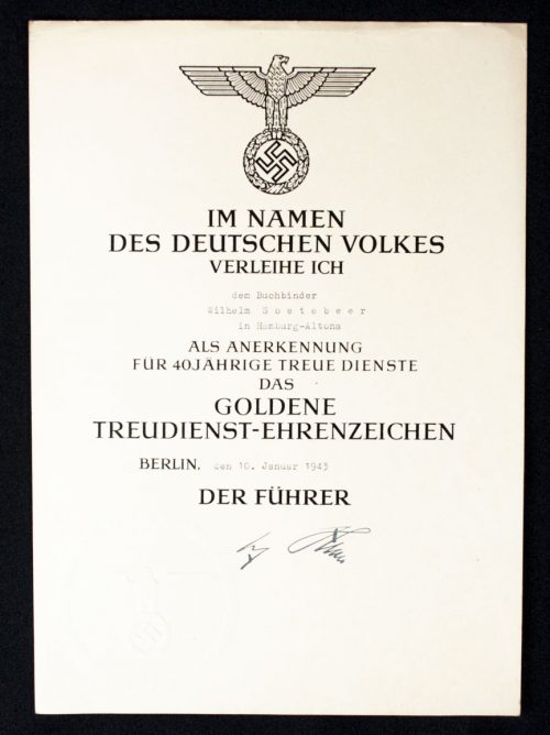 Two citations (urkunden) for the gold 40 year Treue Dienste cross