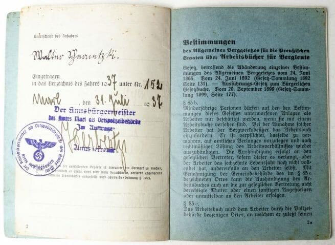 Arbeitsbuch für Bergleute with swastika (very rare!)