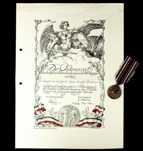 Ehrendenkmünze des Weltkrieges + urkunde