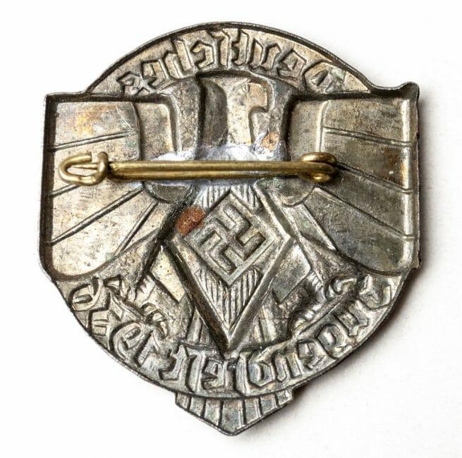 """Hitlerjugend - Deutsches Jugendfest 1936 """"closed"""" abzeichen in dark brown (HJ badge)."""