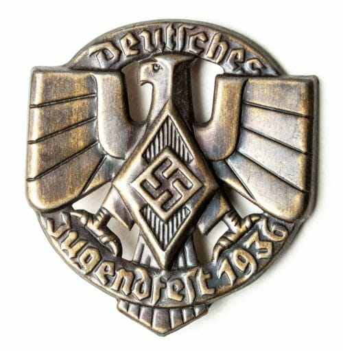 "Hitlerjugend - Deutsches Jugendfest 1936 ""cut-out"" abzeichen in brown colour (HJ badge)"