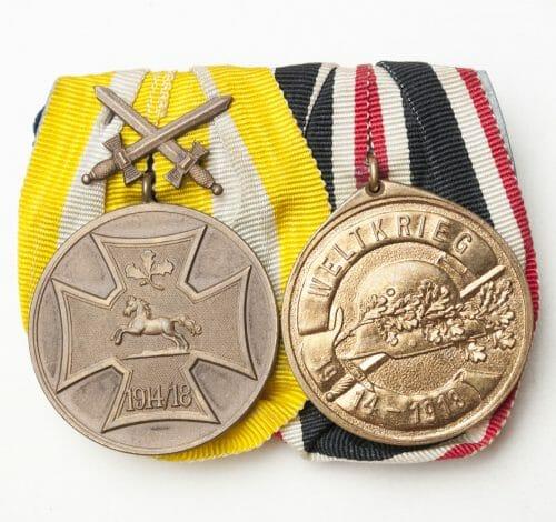 Double medalbar with Kriegsdenkmünze des Hannoverschen Landes-Kriegerverbandes