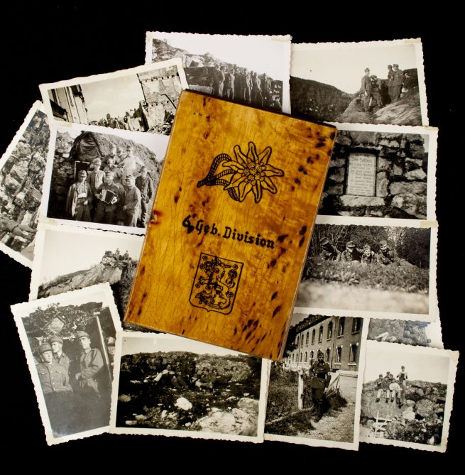 6. Gebirgs Division - Wood Note block with 13 photo's
