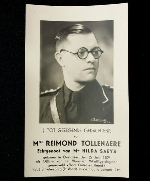 Belgium VNV Reimond Tollenaere Funeral Memorial card (prayer card)