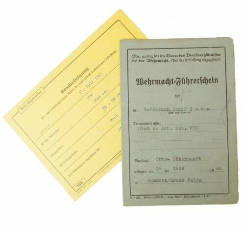Wehrmacht Führerschein (Drivers Licence) with photo and Bescheinigung