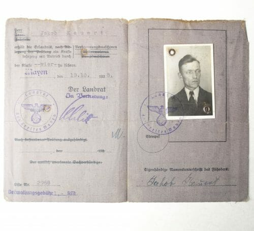 Führerschein 1938 (Drivers Licence) with photo