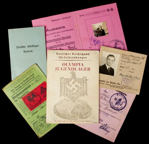 German WWII Pass/Ausweis lot from one man with Olympia 1936 Jugendlager pass!