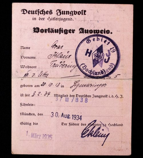 German WWII Passes/Ausweis lot from one man with Olympia 1936 Jugendlager pass!