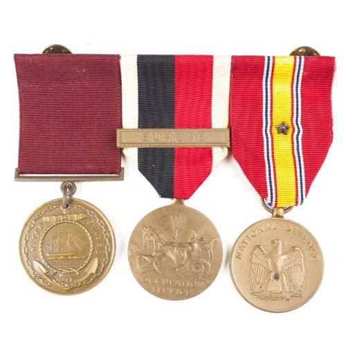 USA Medalbar with Navy Marine Corps Good Conduct medal, Occupation Service medal Europe, National Defense Medal