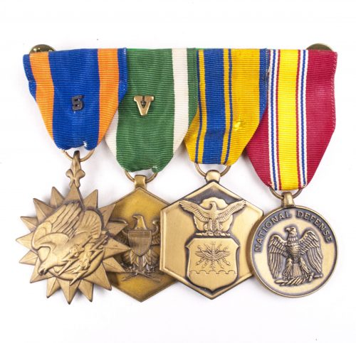 USA medalbar with Airmedal, Military Merit medals and National Defense medal