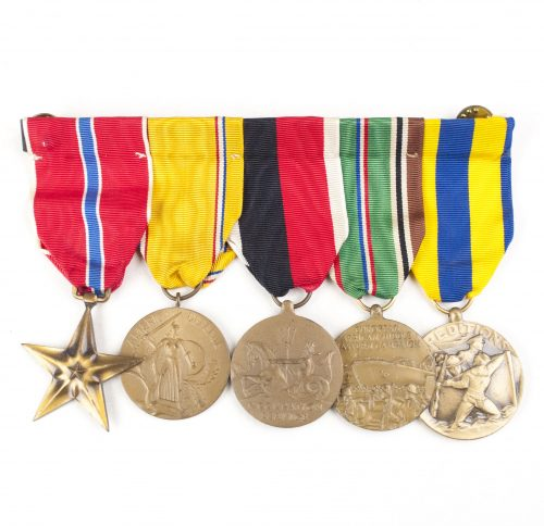 USA medalbar with Bronze Star, American Defense medal, Occupation service medal, European African Middle Eastern Campaign medal and Navy Expeditions Medal
