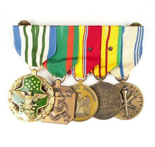 USA medalbar with US Air Force Military Merit medal, US Navy & Marine Corps Achievement Medal, National Defense medal, Vietnam medal, Armed Forces Reserve medal
