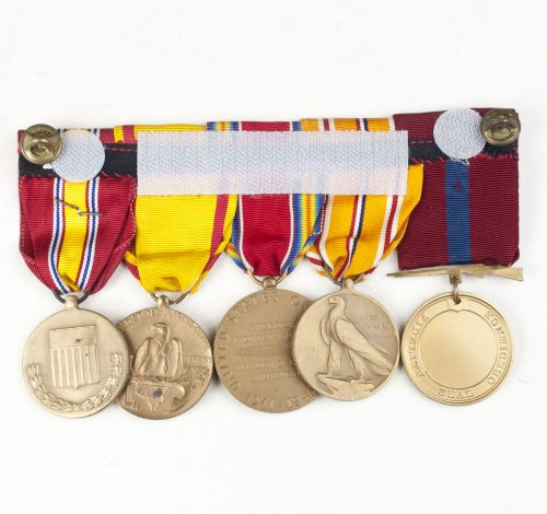 USA medalbar with United States Marine Corps Good Conduct Medal, Asiatic Pacific Campaign medal, WWII Victory medal, China Service medal, National Defense medal