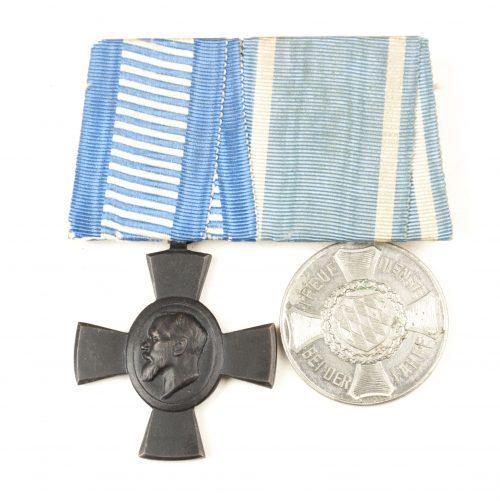 Bayern/Bavaria medalbar/ordensspange with König-Ludwig-Kreuz 1916 + Dienstauszeichnung III Klasse