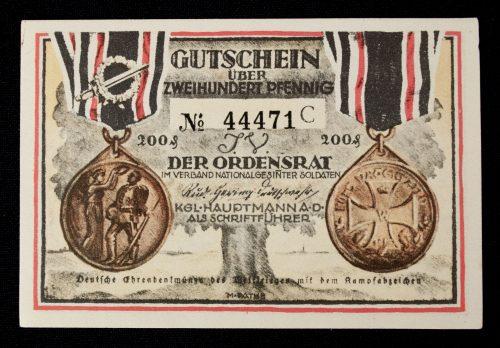 Deutsche Ehrendenkmünze des Weltkriegs with special banknote