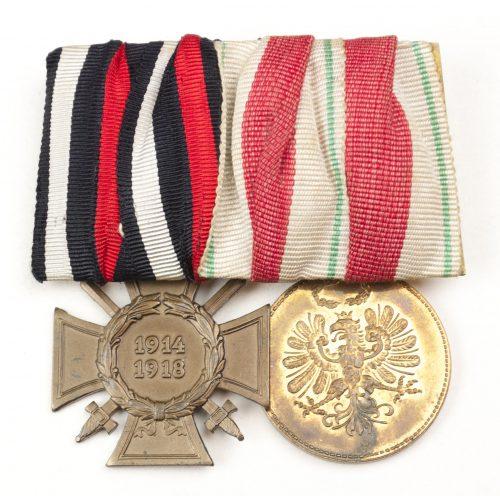 Double German/Austrian medalbar with German Frontkämpfer kreuz and Defense Tirol 1914-1918 medal.