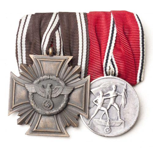 NSDAP medalbar with NSDAP Dienstauszeichnung 10 Jahre + Anschlussmedaille