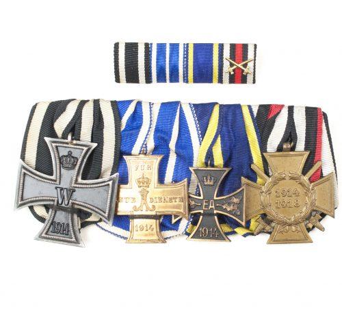 WWI German medalbar with EK2, Schaumburg-Lippe Kreuz für Treue Dienste 1914, Braunschweig Kriegsverdienstkreuz, FEK