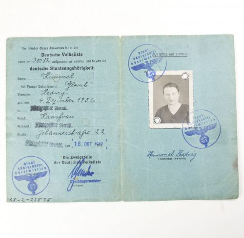 Ausweis der Deutschen Volksliste with passphoto from Königshütte in Oberschlesien