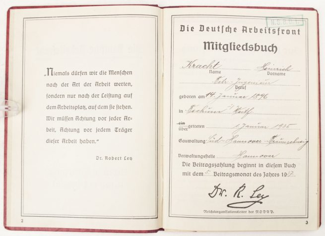 Deutsche Arbeitsfront Mitgliedsausweis (DAF-booklet) with 63 glued in contribution stamps