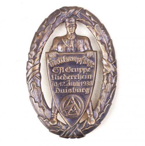 SA Gruppe Niederrhein Wettkampftage 10-12 Juni 1938 Duisburg badge