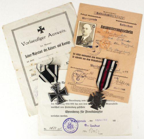WWI + WW2 group with Iron Cross (EK2) + Frontkämpfer Ehrenkreuz + Citations