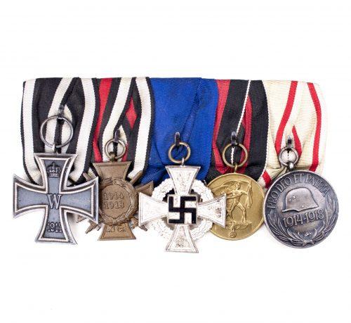 WWII German medalbar with Iron cross, FEK, Treue Dienste Kreuz, Sudetenmedaille and Pro Deo et Patria medal