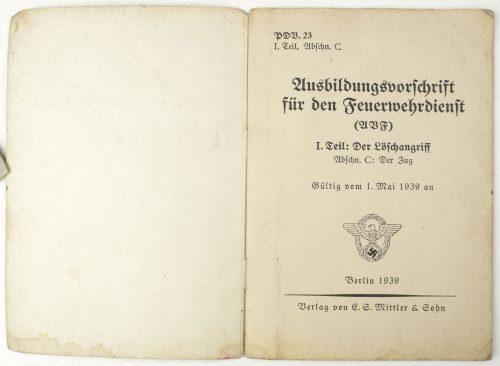 Ausbildungsvorschrift für den Feuerwehrdienst 1939