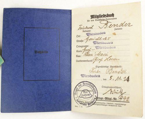 Der Stahlhelm - Bund der Frontsoldaten Mitgliedsbuch 1931