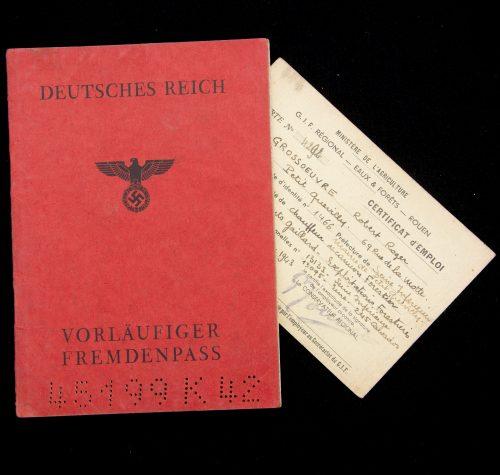 Deutsches Reich Vorläufiger Fremdenpass + Workcard for a frenchman