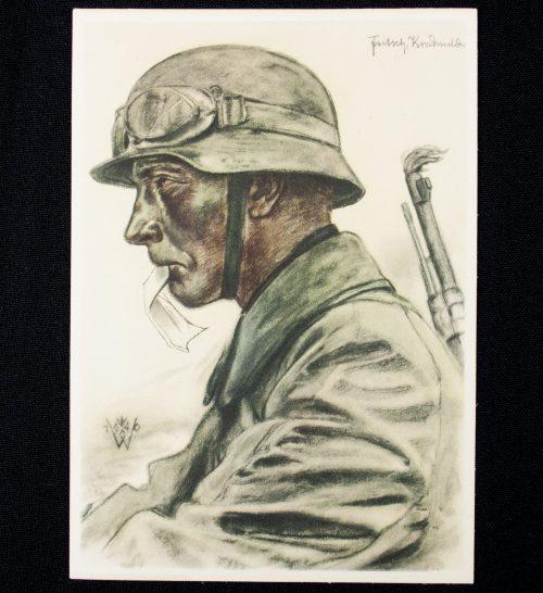 Postcard: W. Willrich - Kradmelder einer Panzer Vorausabteilung (1940)