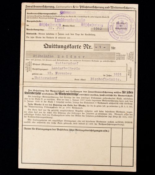 Quittungskarte - Invalidenversicherung (including stamps)