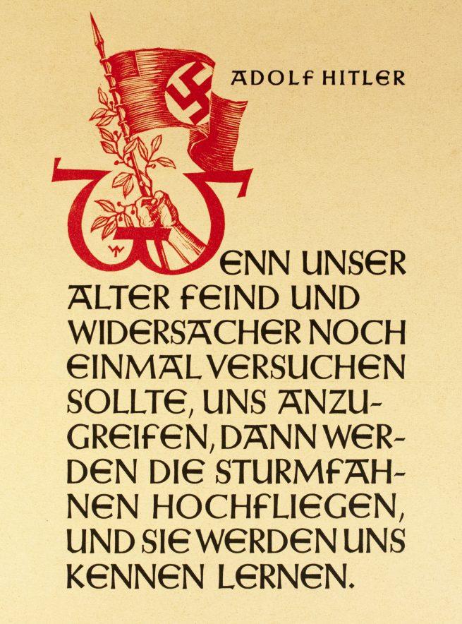 WWII German NSDAP Wochenspruch (propaganda miniposter) – Sturmfahnen/Adolf Hitler