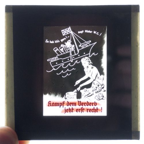 Cinema glass slide – So Hab Ich's gern, Sagt Mister Winston Churchill - Kampf dem Verderb (1942?)