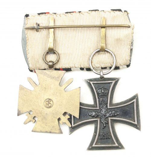 German double medalbar with Iron cross (EK2) + Frontkämpfer Ehrenkreuz