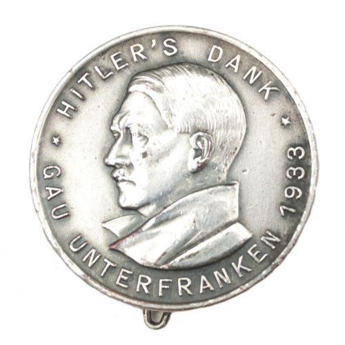 Hitler's Dank - Gau Unterfranken 1933 abzeichen