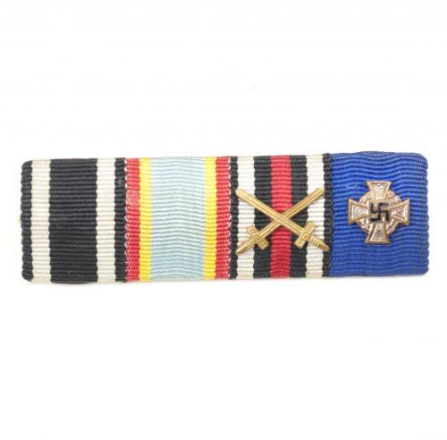 WWII German Ribbonbar with Ek2, Mecklenburg-Schwerin, Militärverdienstkreuz, Frontkämpfer Kreuz + Treue Dienst kreuz 25 Jahre