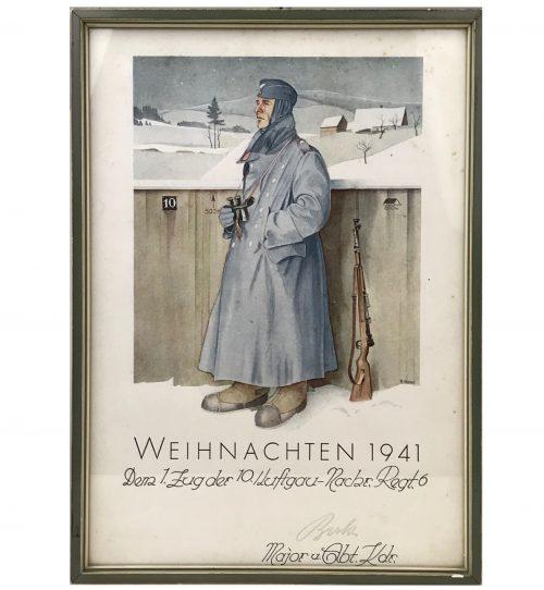 Artistic German citation Weihnachten 1941 dem 1.Zug der 10./Luftgau-Nachr.Regt.6