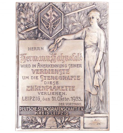 Deutsche Stenografenschaft Ehrenplakette 1933