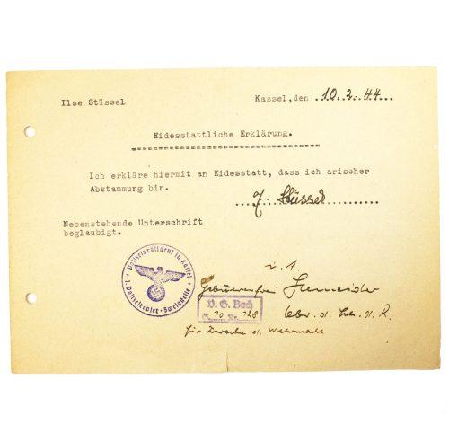 Eidesstättliche Erklärung Arische Abstammung 1944