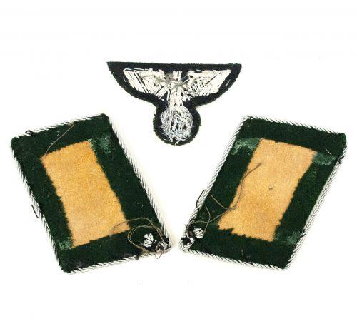 Forest protection (Reichforstschutz) collartabs (Forstmeister) and bullion cap eagle