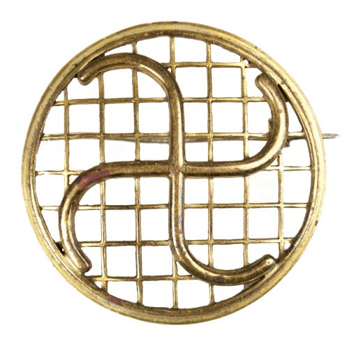 German WWII female cultural brooch with swastika design