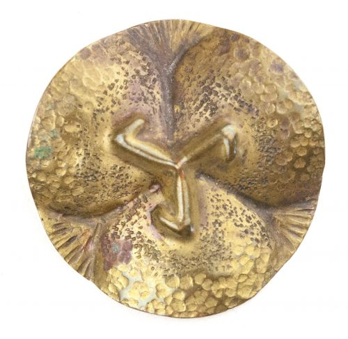 "German WWII female cultural rune brooch with sunwheel ""trifos"" symbol"
