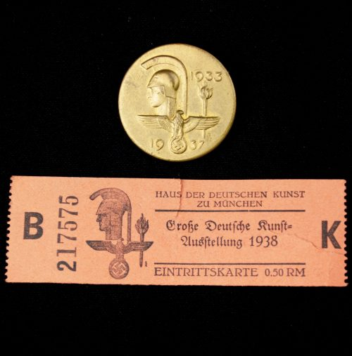 Haus der Deutschen Kunst abzeichen + entrance ticket 1937 (badge maker marked Deschler)