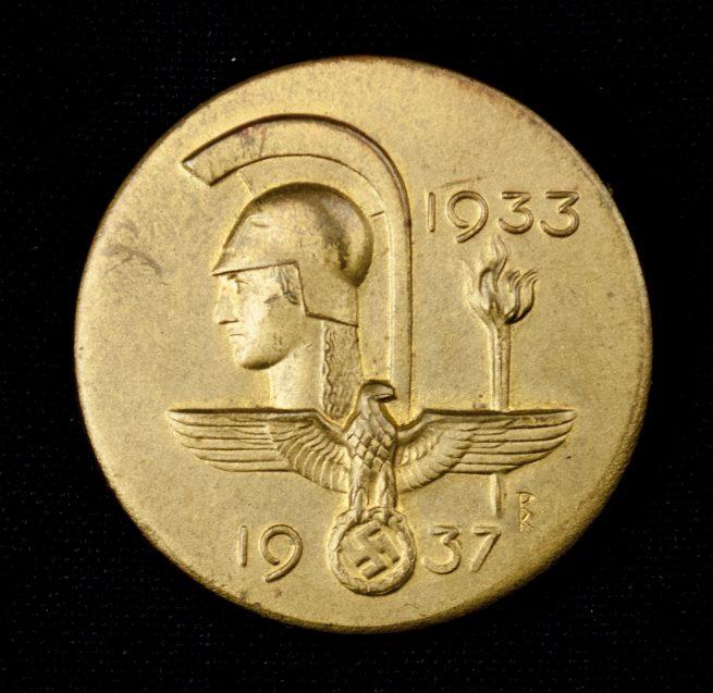 Haus der Deutschen Kunst abzeichen + entrance ticket 1937 (badge maker marked Deschler)